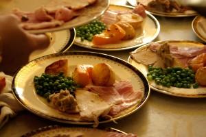 Mosaic of Christmas dinners